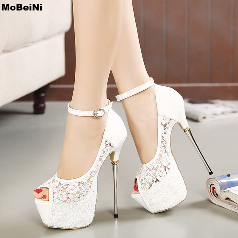 Brand New Lace Open Toe Strap High Heels Shoes Woman Sexy Platform Shoes Sandals Women Shoes White Wedding