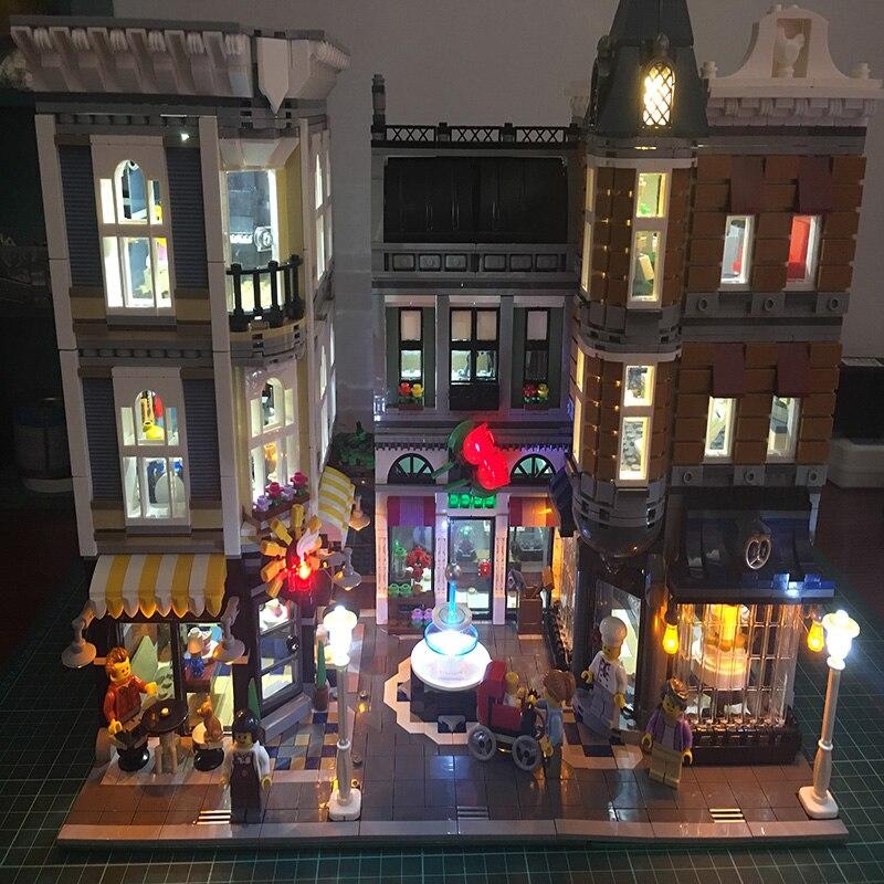 Led Set para construcción Lego Ciudad calle 10255 La Asamblea cuadrado juguetes Compatible 15019 bloques creador City Street iluminación