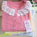2015 new spring girls sweater coat jacket knitted fashion sweaters kids children clothing lace sweet style