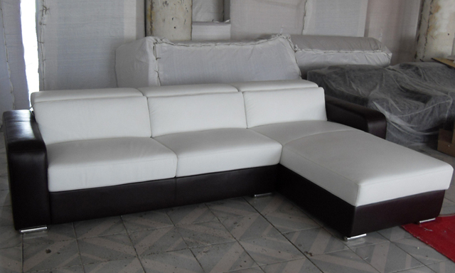 Free Shipping 2013 New Modern Design Small L Shaped Corner Genuine Leather Sofa LC9100