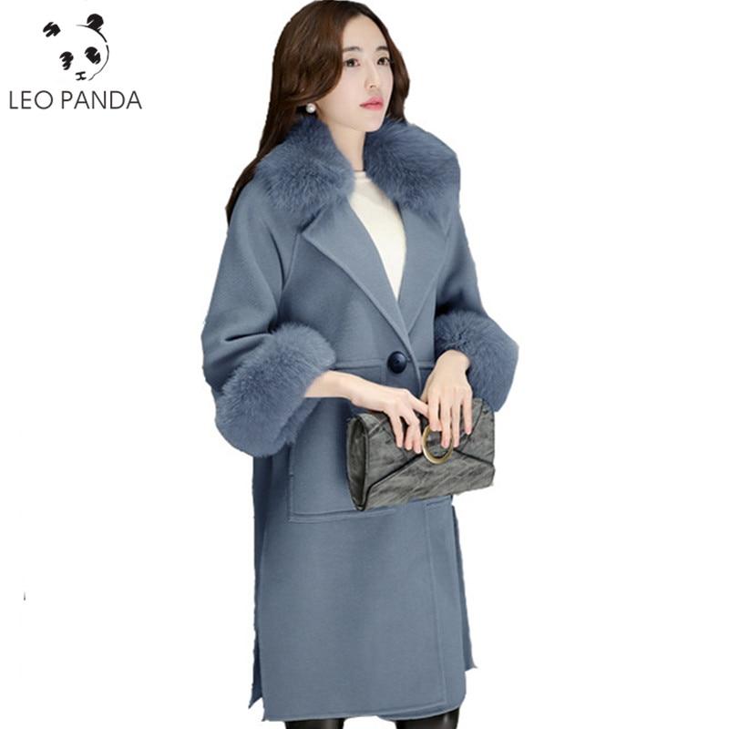 US $65.14 20% OFF|Neue Mode Winter Mäntel Frauen Fake Fur Kragen Revers Warme wollenen Langen Mantel Schlank Pelzkragen Jacke Warme Verdickung Outwear