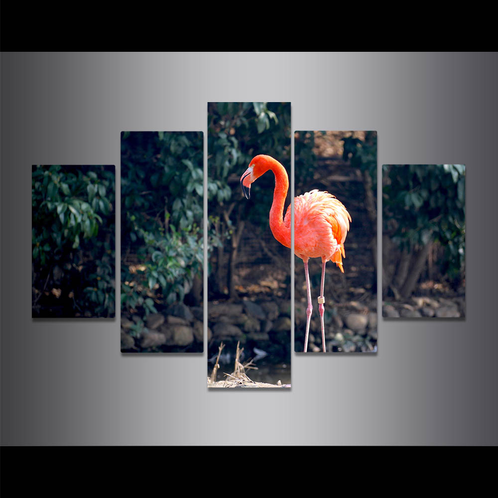 Unframed Canvas Painting Red Long Legs Flamingos Photo Picture Prints Wall Picture For Living Room Wall Art Decoration