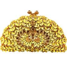 Tier-Shaped Gold Kupplung Abendtaschen Doppel Phoenix Muster Goldene Kristall Kupplung Sparkly Machen Kupplungen für Hochzeiten Tag