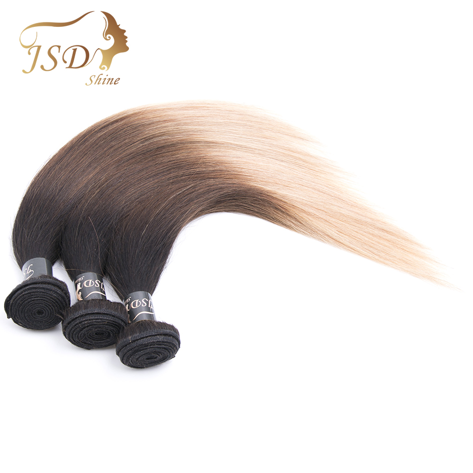 JSDshine Burmese Hair 3 Bundles 1B/4/27 Human Hair Three Tone Color Straight Non-Remy Human Hair Extensions Free Shipping