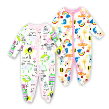 Купить с кэшбэком Baby Romper 2pcs/lot Spring Autumn Long Sleeve Comfortable Baby Pajamas Newborn Jumpsuit Cartoon Printed Cotton baby boy clothes