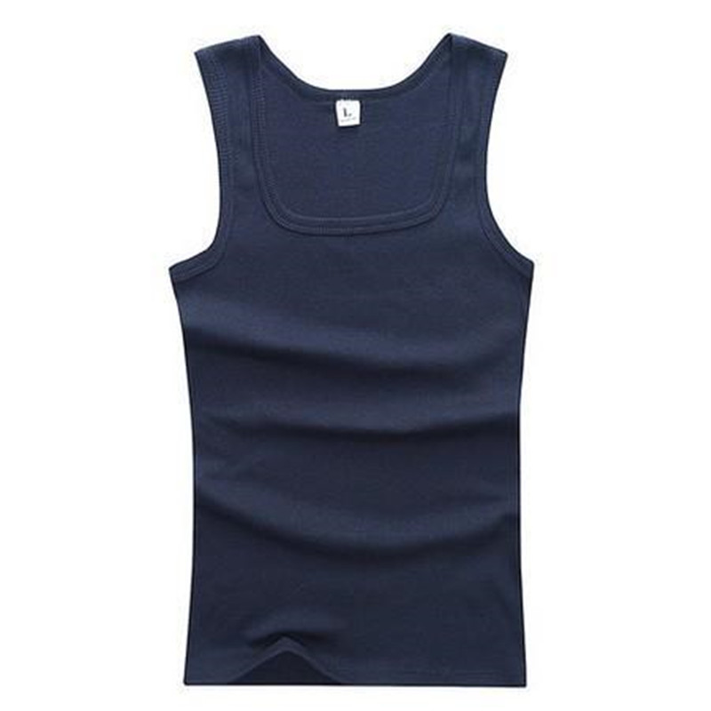 Mens Summer Undershirt Solid Color Cotton Vest Fitness Tight-fitting Shirt Square Collar Sweat Tank Tops 9 Colors Fitness Vest