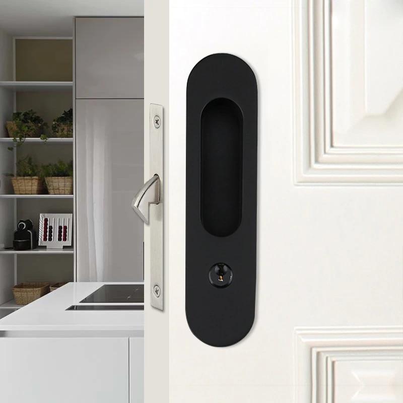Zinc Alloy Interior Wood Sliding Barn Door Handle Lock Sets With Key For Living Room Bedroom Bathroom Handlesets Aliexpress
