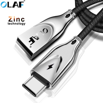 OLAF 1m 2m Zinc Alloy USB Type C Cable 2A USB C Charger Fast Data sync Charging Type-c Cable For Samsung Note 8 9 S8 s9 USB-C