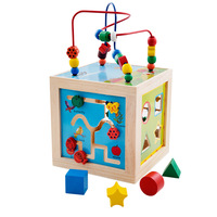 5 in 1 Children Kids Baby Colorful Wooden Mini Around Beads Math Toys shape match Educational Game Toys