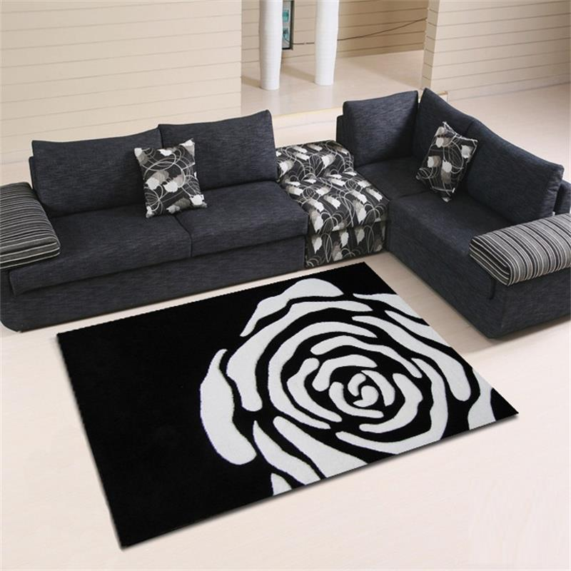 120x170cm 100 acrylic carpets for living room black white for Table blanc mat