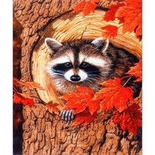 Diamond Painting Full drill Red maple raccoon Mosaic DIY Diamond Painting Cross Stitch Embroidery Home Decorative Craft(China)