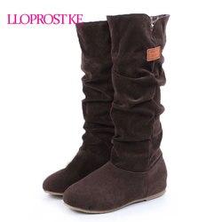 Lloprost ke big size 34 43 autumn winter stylish flat flock shoes fashion knee high boots.jpg 250x250