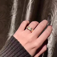 New rhombus ring Pure 925 Sterling Silver Jewelry For Women Wedding cutting pattern Rings Gold Color Big Wide Grid Rings