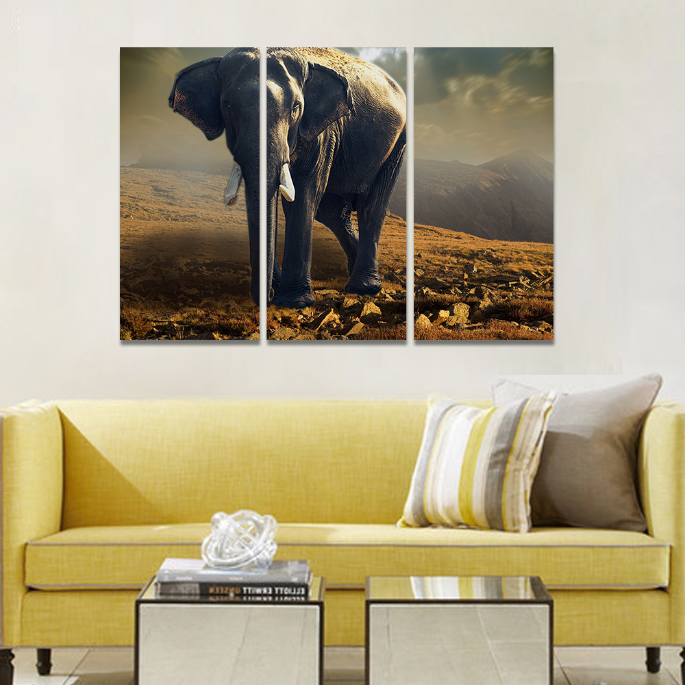 Unframed Canvas Painting Giant Elephant Desolate Mountain Picture Prints Wall Picture For Living Room Wall Art Decoration