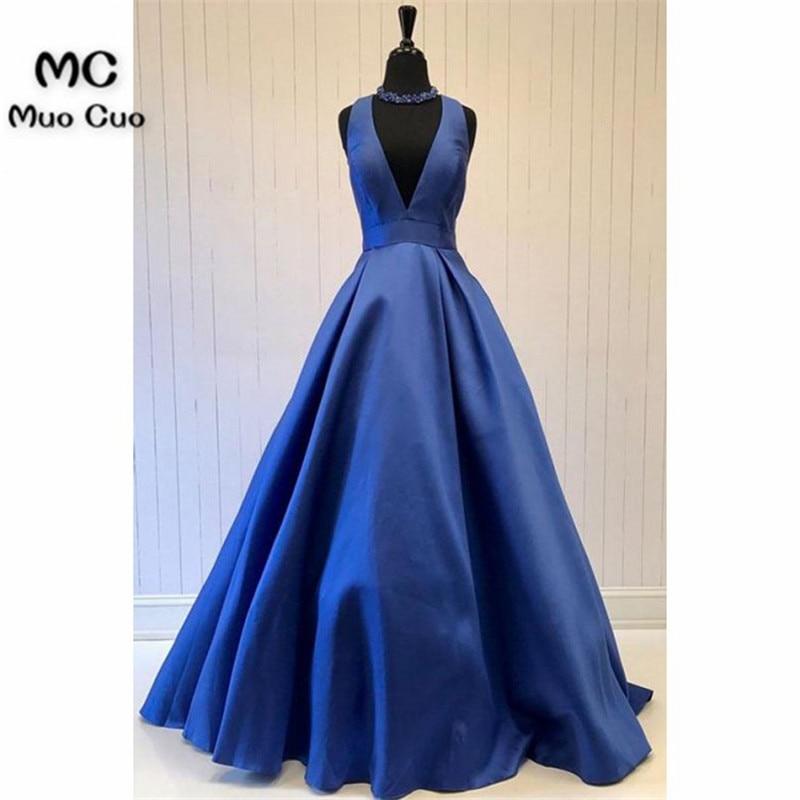 2018 Royer Blue A-Line   Evening     Dresses   V-Neck Satin Sweep Train Draped Vestido Longo Sleeveless Satin Formal   Evening   Party   Dress