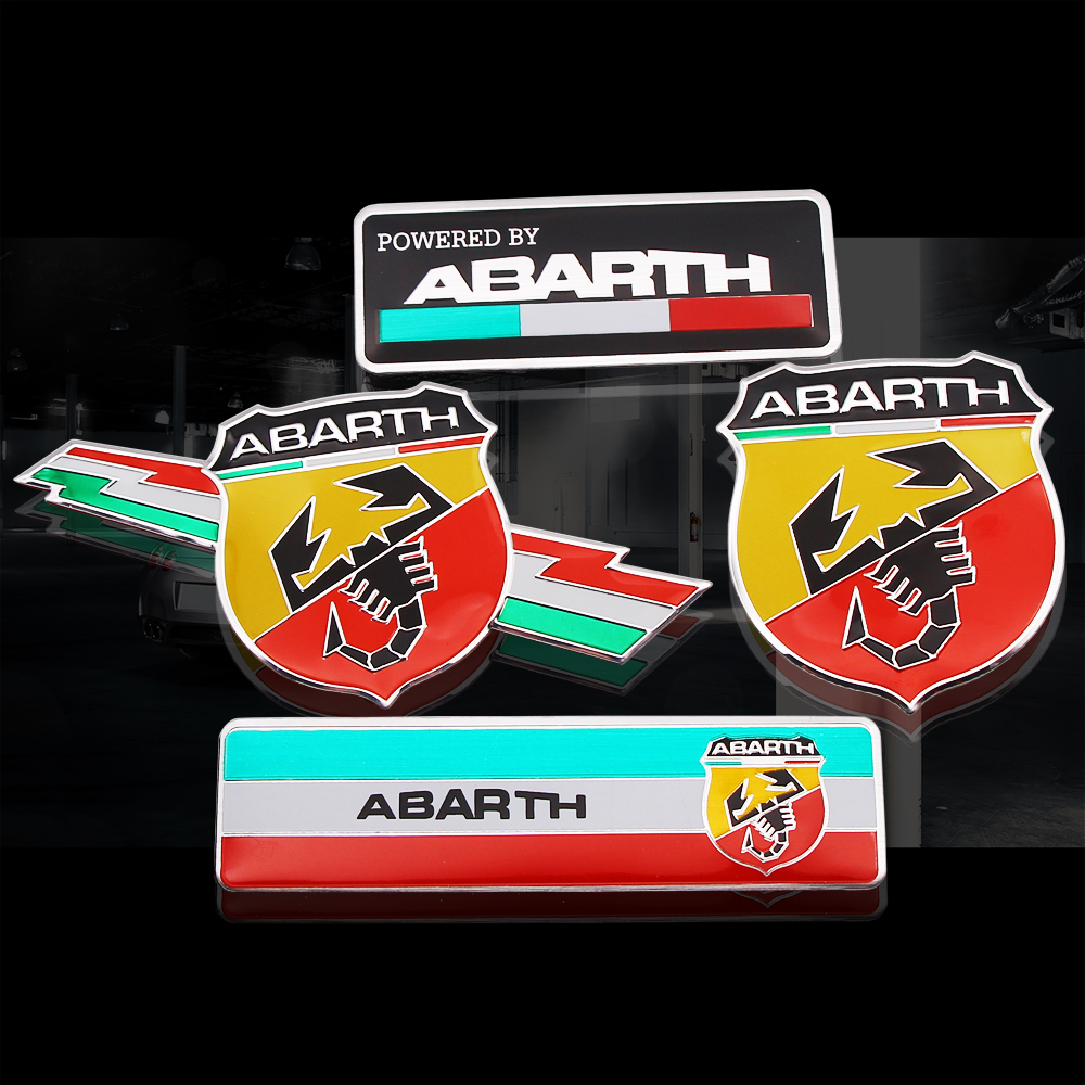 1PCS 3D Metal Aluminum Abarth Scorpion Adhesive Badge Emblem Decal Sticker For Fiat Viaggio Abarth Punto 124 125 500 Car Styling