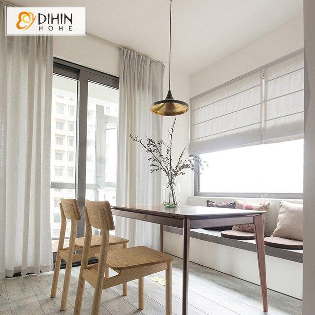 25 Modern Roman Shades For Beautiful Room Decorating: DIHIN HOME Modern Linen/Cotton Fabric 35 Colors Roman