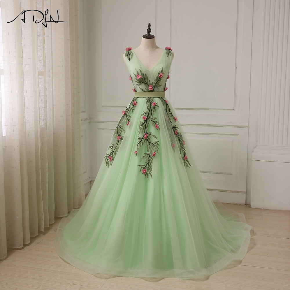 ADLN Sexy V Neck Evening Gowns Mint Cap Sleeve Tulle A-line Formal Party  Prom 8e7c32404ba3