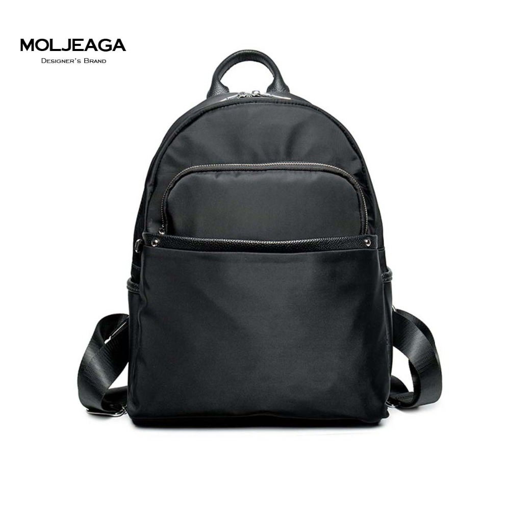 MOLJEAGA Brand 2017 New Superior cowhide with nylon simple women genuine leather backpack fashion leisure women