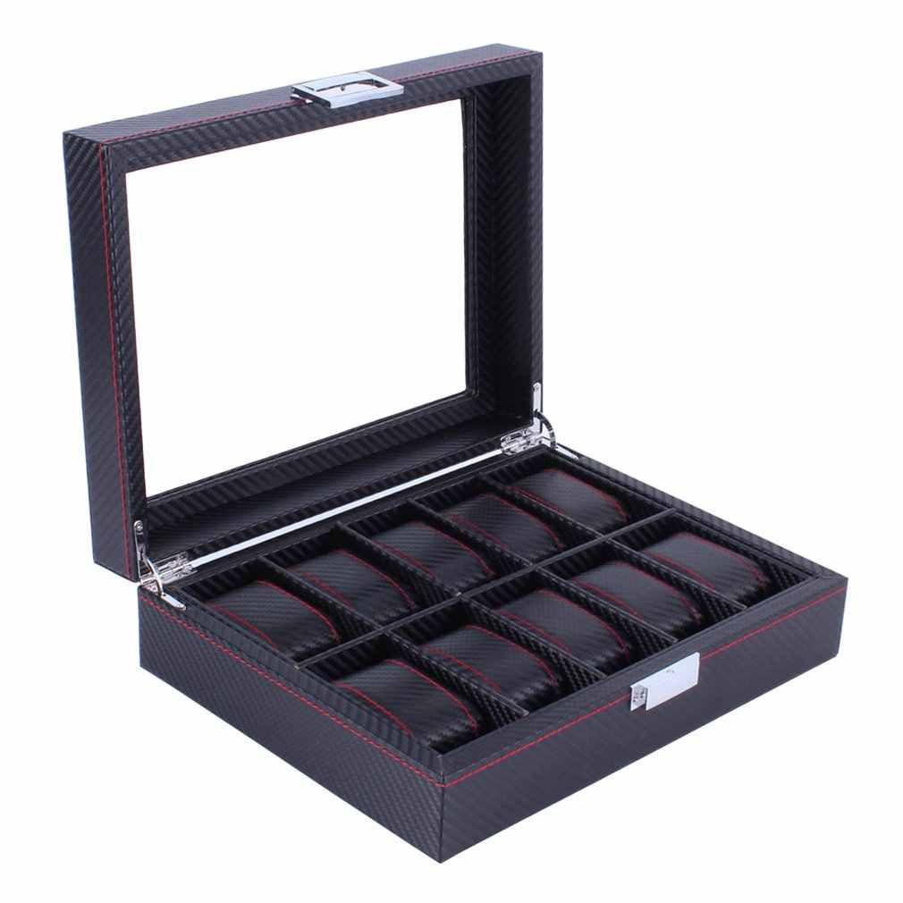 10 Grids Carbon Fibre Pattern Watch Box Watch Holder Organizer Storage Case Jewelry Display Rectangle Black Color Showcase GIFTS