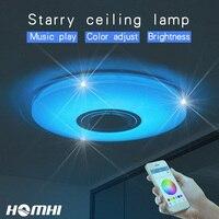 Телефон управление музыкой потолочный светильник затемнения 52 Вт гостиная спальня современный для дома дети bluetooth динамик осветительное о