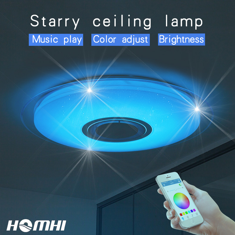 Phone control Music ceiling lamp Dimable  52w Living room bedroom modern for home children blue tooth speaker lighting Fixture