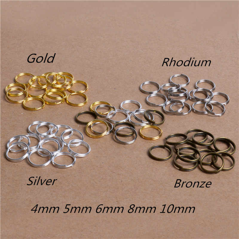 200pcs/lot 4 5 6 8 10mm Gold-Color Open Jump Ring Double Loop Split Rings for Jewelry Necklace Bracelet Chain Connector Findings