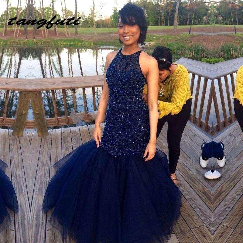 Navy Blue Evening Dresses Long Party Mermaid Beading Pearls Formal Evening Gowns Prom Dress Wear Evening