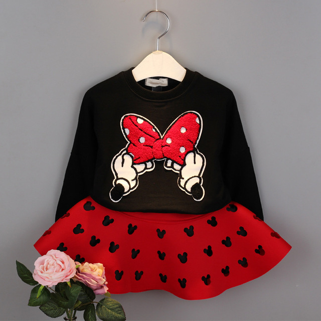 New brand red and black girls spring clothing suit kid cartoon mouse cotton chidlren tops shirt with mini tutu skirt hollow out