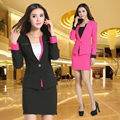 New 2015 Femininos Fashion Slim Autumn Winter Professional Business Office Work Wear Suits With Skirt For Ladies Beautician Set