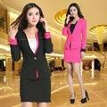 Novo 2015 Femininos moda Slim outono inverno trabalho de escritório de negócios profissional usar ternos com saia para senhoras esteticista Set