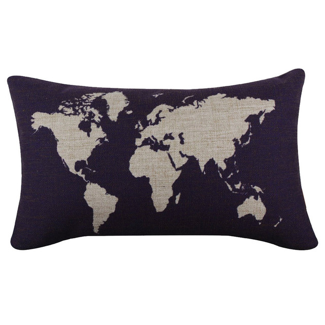 Dark Blue World Map Burlap Pillow Cases Covers Decorative Throw Custom Pillow Case Covers For Throw Pillows