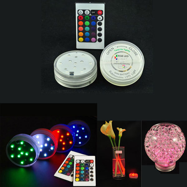 10 LED Multi Colors Submersible Waterproof Wedding Party Decoration Floral Vase Base Light +Remote