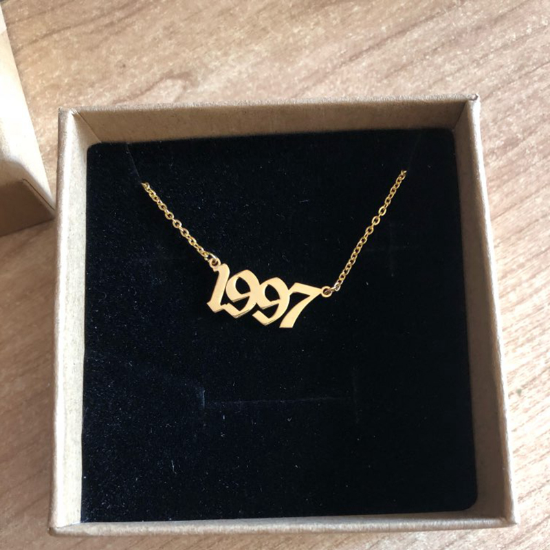 цена на Women Men Custom Jewelry Personalized Old English Number Necklaces Wedding Anniversary Day Date Chain Pendant Birthday Gift BFF