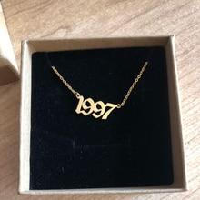 Birthday-Gift Necklaces English-Number Chain Pendant Custom Jewelry Wedding-Anniversary