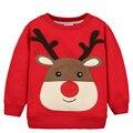 Camiseta de manga larga niños de Dibujos Animados Bebé Niños T-Shirt Niños prendas de abrigo espesar Suéteres bebé de invierno con capucha de la Navidad de Santa Claus
