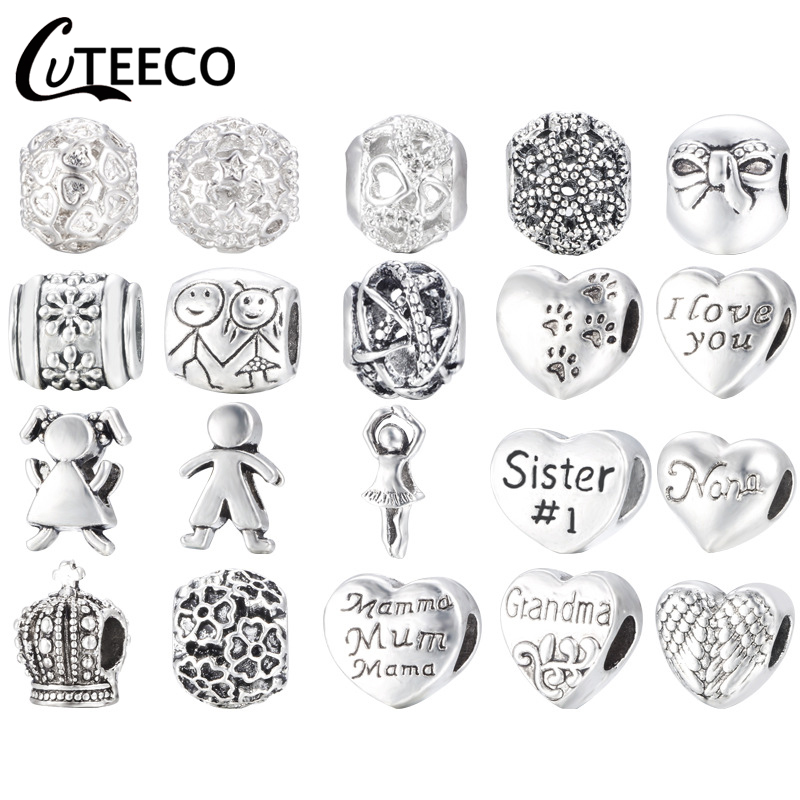 CUTEECO Free Shipping Antique Silver Love Heart Family Mum Big Hole Beads Charm European Fit Pandora Charm Bracelets Accessories
