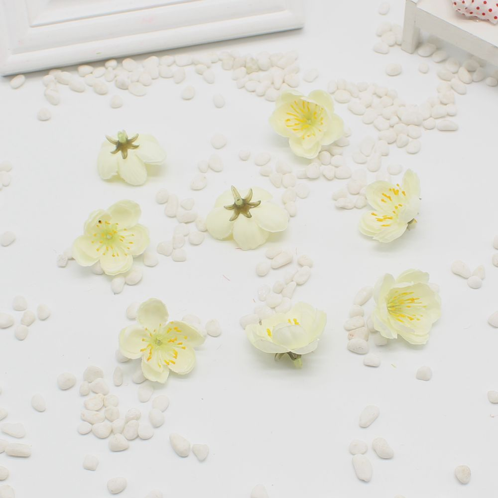10 Pcs Mini Cherry Fabric Plum Blossom Artificial Flower Baby Silk