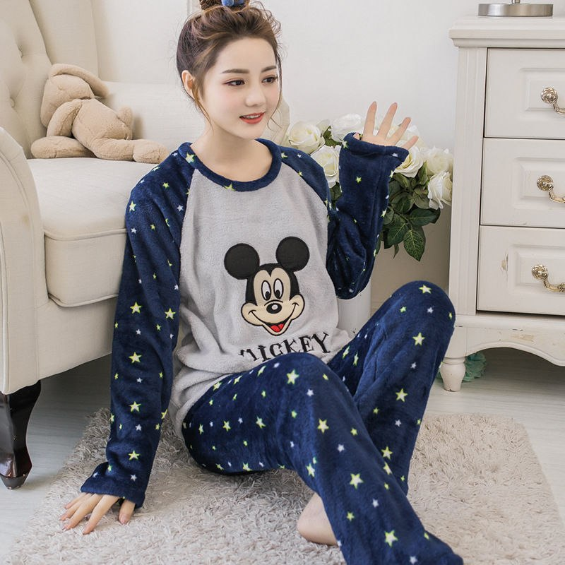 High Quality Women Pajama Sets Winter Soft Thicken Cute Cartoon Flannel Sleepwear 2 pcs/Set Tops + Warm Pants Home Clothes Mujer 87