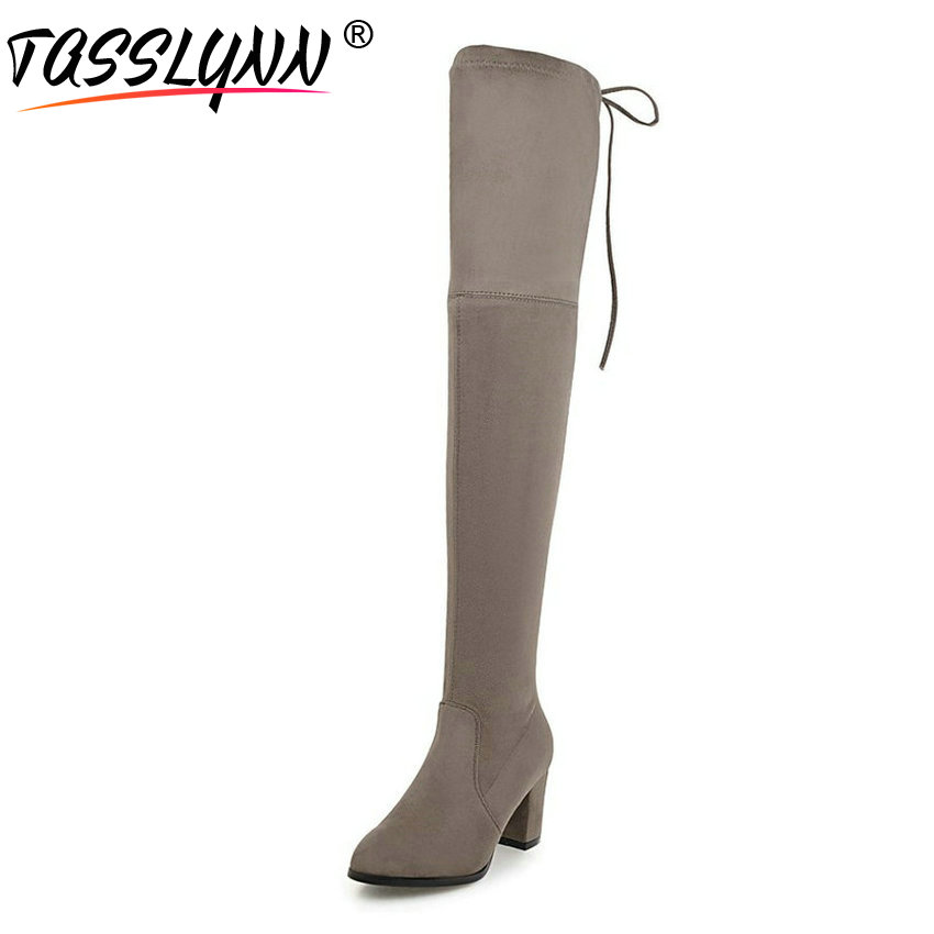 TASSLYNN 2018 Women Boots Flock Look Slim Winter Long Boots Over The Knee Boots Square High Heels Pointed Toe Women Shoes 34-43