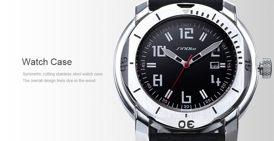 SINOBI Surfing Clock 3Bar Waterproof Watch Mens Sports Wristwatch Designer Branded Chronograph Male Spy Geneva Quartz-watch 007 9