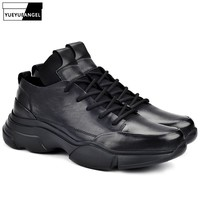 Luxury Brand Casual Shoes Men Lace Up Trainers Comfortable Genuine Leather Black Sneakers Height Increase 5.5CM Chaussure Homme