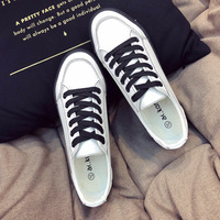 Classic White Black PU Leather Shoes New 2018 Fashion Sneakers Women's Casual Shoes Platform Sneakers For Walking Spring Autumn
