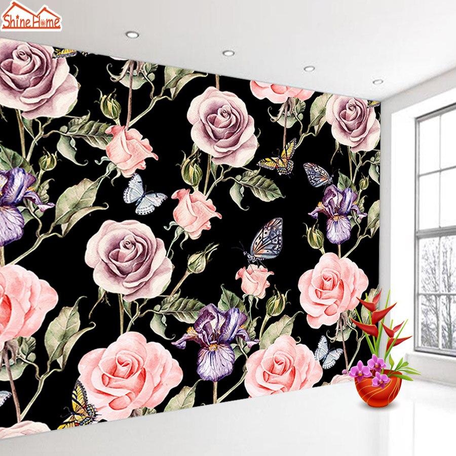 ShineHome-Large Custom 3d Photo Wallpaper Black White Wallpapers For 3 D Living Room Rose Peony Flower Household Wall Paper