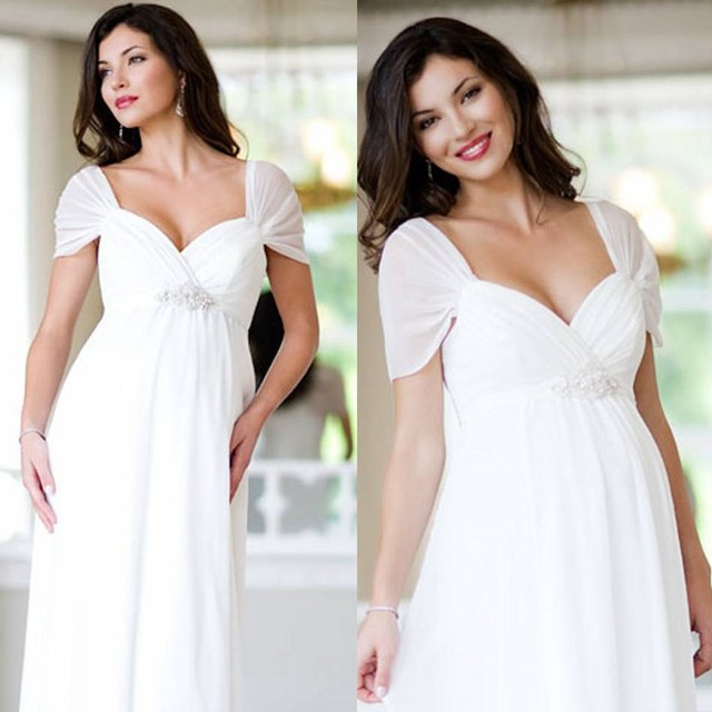 White chiffon vestido de noiva cheap wedding dress sexy for Cheap wedding dresses for pregnant women