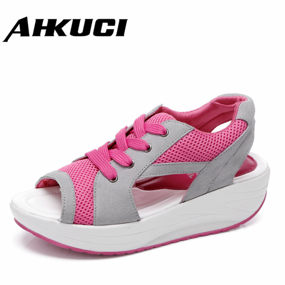 Fashion Leisure Summer Fish Mouth Thick Bottom Increased Shake Shoes Sandals Network Shoes