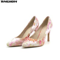 TINGHON Women Purple green leaf Embroider Cloth High Heel Pumps Elegant Pointed Toe 8CM Thin Heel Slip On Office Ladies Shoes