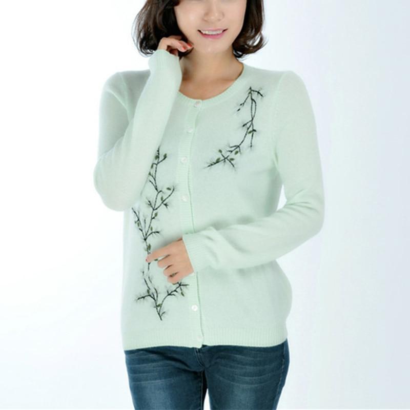 100% козья кашемир Oneck тонкий трикотаж женщины сладкий жаккардовые свитер светло зеленый 2 вида цветов XS XL Розничная и оптовая продажа