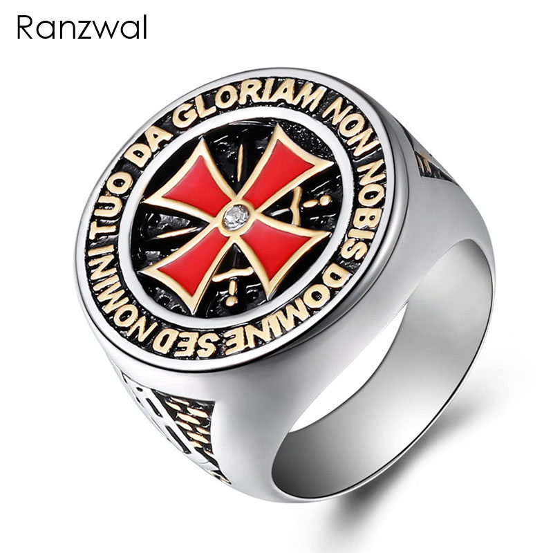 Ranzwal Punk Rock Crusader Cross Stainless Steel Rings for Men Knight Templar Ring Jewelry US SIZE 8~15 MRI010
