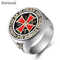 Ranzwal Punk Rock Crusader Kreuz Edelstahl Ringe für Männer Ritter Templer Ring Schmuck UNS GRÖßE 8 ~ 15